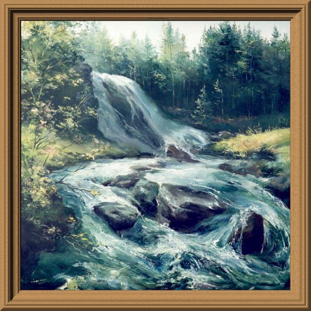"""Схема вышивки  """"Бурный водопад """": таблица цветов."""